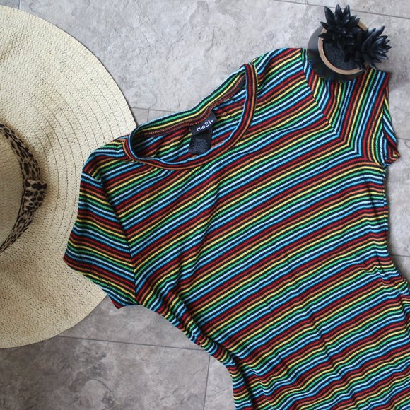 Striped Rainbow Fitted Tee Shirt Size Med